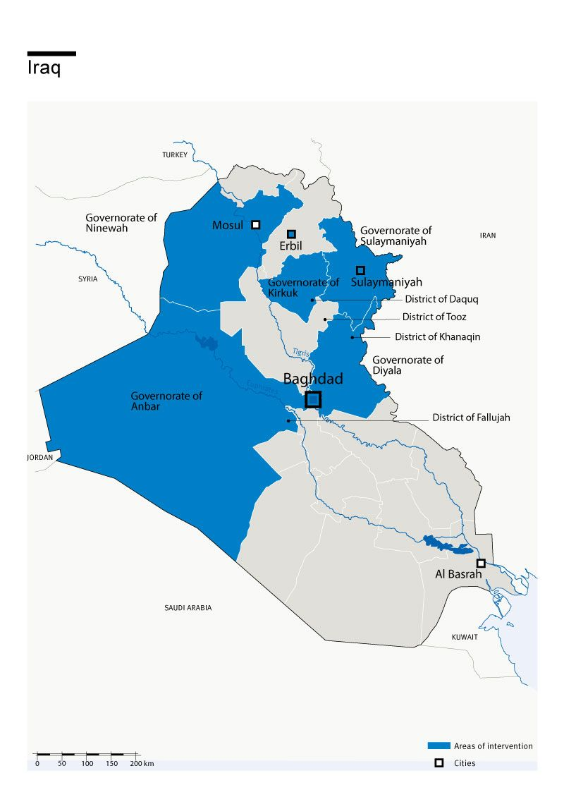 Carte des interventions de HI en Irak