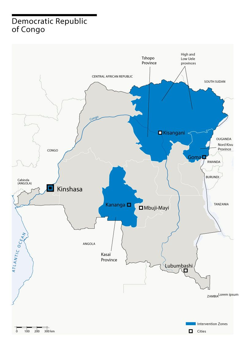 Carte des interventions de HI en RDC