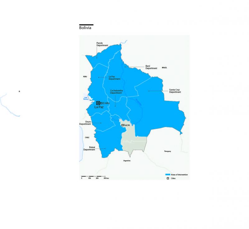 Carte des interventions de HI en Bolivie